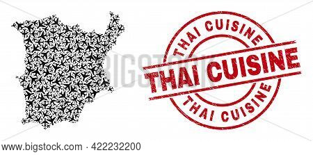 Thai Cuisine Distress Seal, And Koh Samui Map Mosaic Of Aircraft Items. Mosaic Koh Samui Map Created