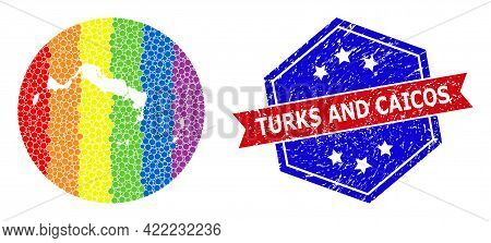 Dotted Spectrum Map Of Turks And Caicos Islands Collage Created With Circle And Cut Out Shape, And T