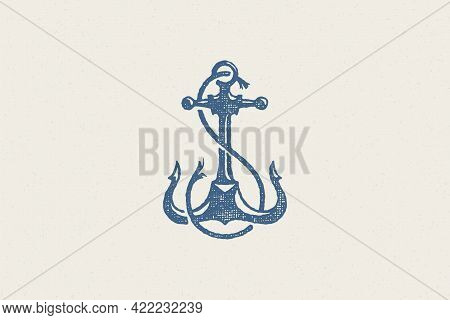 Silhouette Traditional Anchor Emblem Of Maritime Industry Hand Drawn Stamp Effect Vector Illustratio