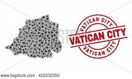 Vatican City Scratched Badge, And Vatican Map Mosaic Of Air Plane Elements. Mosaic Vatican Map Const