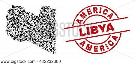 America Libya Rubber Seal Stamp, And Libya Map Collage Of Jet Vehicle Items. Collage Libya Map Desig