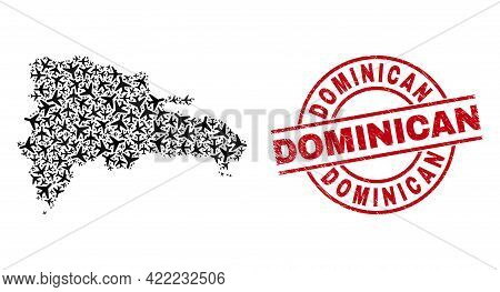 Dominican Rubber Stamp, And Dominican Republic Map Collage Of Air Plane Elements. Collage Dominican