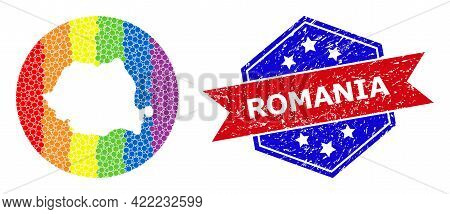Pixelated Bright Spectral Map Of Romania Mosaic Created With Circle And Carved Shape, And Grunge Sea