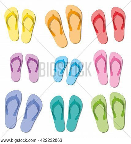 Flip Flops Set, Ten Colored Pairs Of Rubber Sandals, Symbolic For Group Travel, Teamwork, Funny Frie