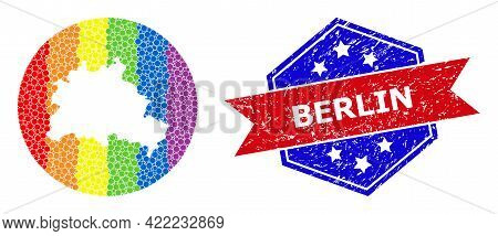 Pixel Bright Spectral Map Of Berlin City Collage Created With Circle And Hole, And Textured Stamp. L