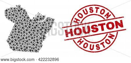 Houston Rubber Seal, And Paral State Map Collage Of Aviation Items. Collage Paral State Map Construc