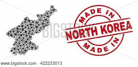 Made In North Korea Rubber Seal Stamp, And North Korea Map Collage Of Aircraft Elements. Mosaic Nort