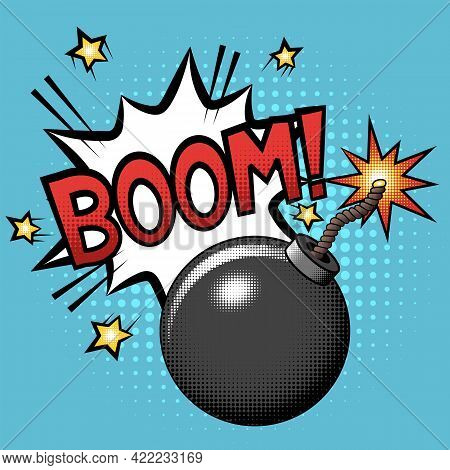 Bomb With Burning Fuse And Explosion With Boom Text In Cartoon Comic Style With Halftones. Vector Il