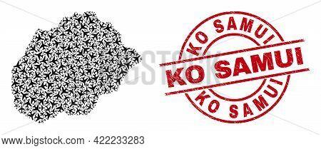 Ko Samui Grunge Stamp, And Alegranza Island Map Mosaic Of Aviation Elements. Mosaic Alegranza Island