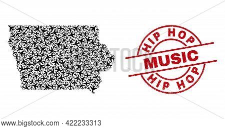 Hip Hop Music Rubber Badge, And Iowa State Map Mosaic Of Air Plane Items. Mosaic Iowa State Map Crea