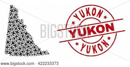 Yukon Rubber Badge, And Yukon Province Map Collage Of Air Force Items. Collage Yukon Province Map Cr
