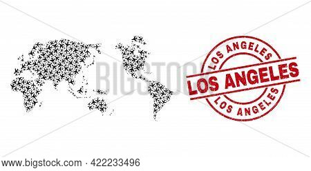 Los Angeles Textured Seal Stamp, And Worldwide Map Mosaic Of Aircraft Elements. Collage Worldwide Ma
