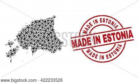 Made In Estonia Distress Seal Stamp, And Estonia Map Mosaic Of Aircraft Items. Mosaic Estonia Map Co