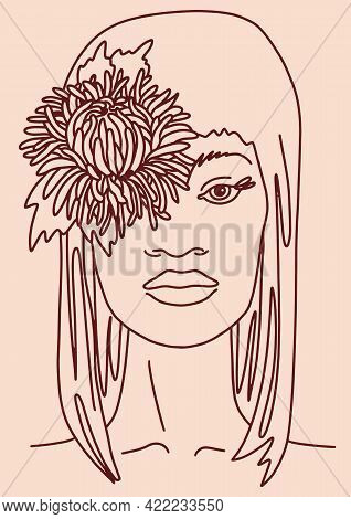 Beautiful Feminine Face Portrait And Flower Woman With Long Hair. Line Drawing. Sketch Vector Illust