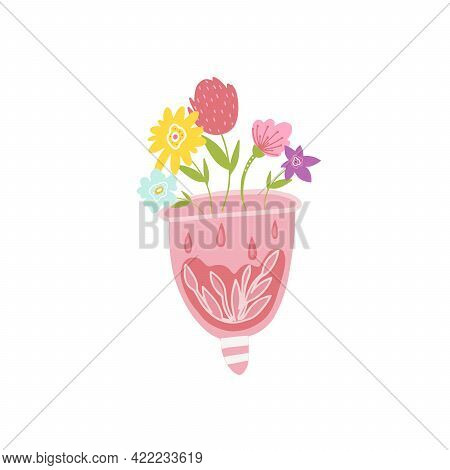A Menstrual Cup With Blood And Flowers. Design Of Advertising For The Sale Of Menstrual Cups. Hygien
