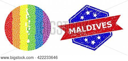 Pixel Bright Spectral Map Of Maldives Mosaic Designed With Circle And Stencil, And Distress Seal Sta