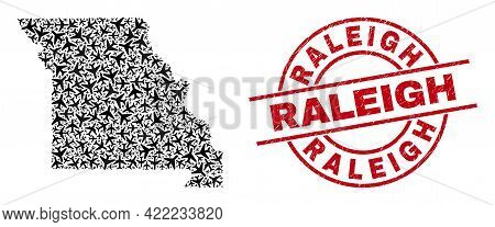 Raleigh Textured Seal, And Missouri State Map Collage Of Air Plane Items. Collage Missouri State Map