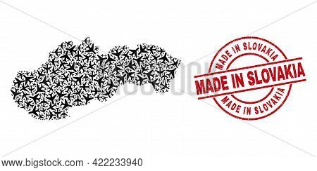Made In Slovakia Scratched Seal Stamp, And Slovakia Map Mosaic Of Air Force Items. Mosaic Slovakia M