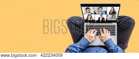 Online Business Meeting. Multiracial Business People Working From Home By A Video Conference. Top Vi