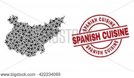 Spanish Cuisine Grunge Stamp, And Badajoz Province Map Collage Of Air Force Elements. Mosaic Badajoz
