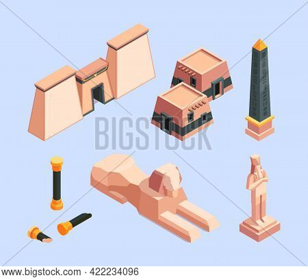 Ancient Egypt. Architectural Old Objects Of Egypt Pyramid Buildings Desert Historical Constructions