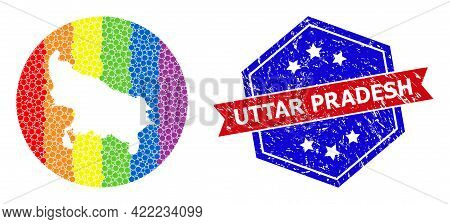 Dot Rainbow Gradiented Map Of Uttar Pradesh State Mosaic Formed With Circle And Cut Out Shape, And S