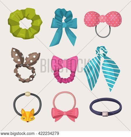 Scrunchy. Elastic Ribbons For Fashion Woman Accessories For Hairs Elastic Headband Recent Vector Ill