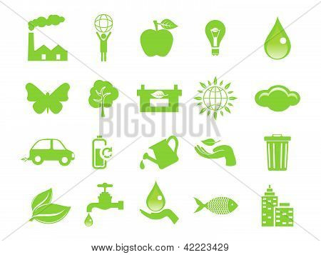 abstract multiple green eco icons vector illustration poster