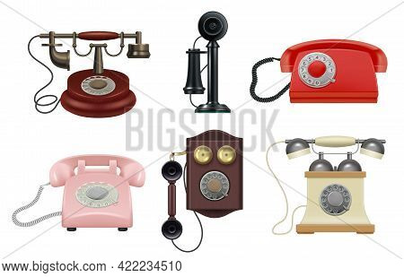 Old Phone. Realistic Vintage Telephones Operator Items For Call Center Decent Vector Old Style Colle