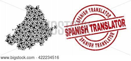Spanish Translator Scratched Seal Stamp, And Avila Province Map Collage Of Aviation Elements. Collag