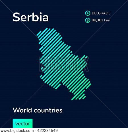 Flat Vector Simple Digital Neon Serbia Map In Green, Turquoise, Mint Colors On A Dark Blue Backgroun