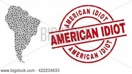 American Idiot Rubber Seal Stamp, And South America Map Collage Of Aircraft Items. Collage South Ame