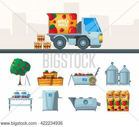 Juice Production. Industry Conveyor Of Juice From Fruits Beverage Food Garish Vector Flat Pictures S