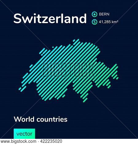 Vector Creative Digital Neon Flat Line Art Abstract Simple Map Of Switzerland With Green, Mint, Turq