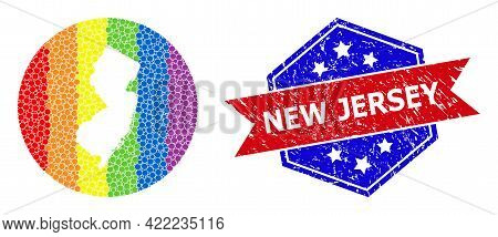 Dotted Spectrum Map Of New Jersey State Collage Created With Circle And Cut Out Shape, And Distress