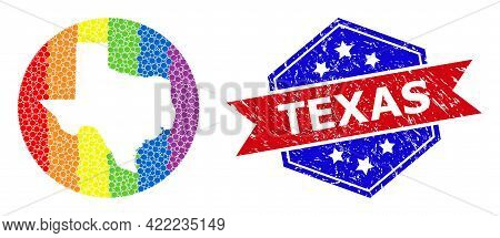 Dotted Spectrum Map Of Texas State Collage Created With Circle And Stencil, And Distress Stamp. Lgbt