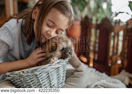 A Little Girl Loves And Hugs Her Little Puppy.