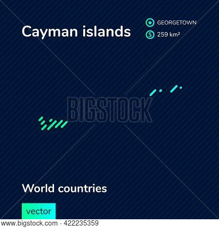 Vector Creative Digital Neon Flat Line Art Abstract Simple Map Of Cayman Islands With Green, Mint, T