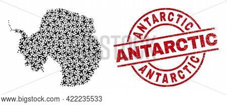 Antarctic Distress Stamp, And Antarctica Continent Map Collage Of Air Plane Elements. Collage Antarc