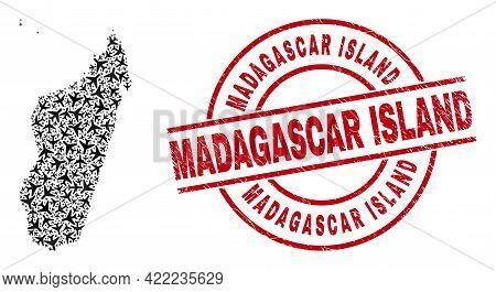 Madagascar Island Rubber Badge, And Madagascar Island Map Collage Of Air Plane Elements. Mosaic Mada