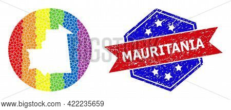 Dot Rainbow Gradiented Map Of Mauritania Mosaic Formed With Circle And Carved Shape, And Scratched S
