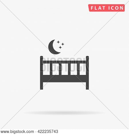 Baby Cot Bed Flat Vector Icon. Hand Drawn Style Design Illustrations.