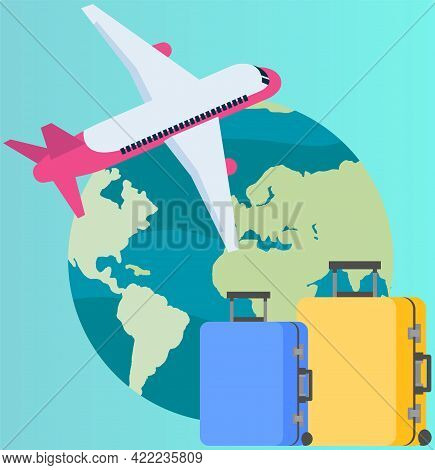 Traveling Around World On Plane Concept. Airplane Flying Around Planet. Symbols And Attributes Of To
