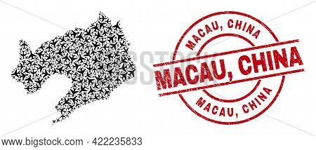 Macau, China Rubber Seal, And Liaoning Province Map Collage Of Aeroplane Items. Collage Liaoning Pro
