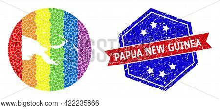 Pixel Rainbow Gradiented Map Of Papua New Guinea Collage Created With Circle And Subtracted Shape, A