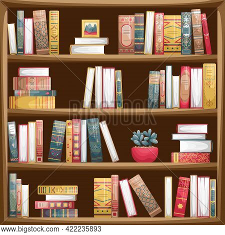 Wooden Bookcase With Books. Book Spines In Retro Style.