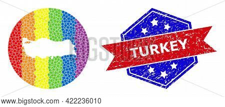 Pixelated Spectrum Map Of Turkey Mosaic Formed With Circle And Stencil, And Grunge Stamp. Lgbtq Spec