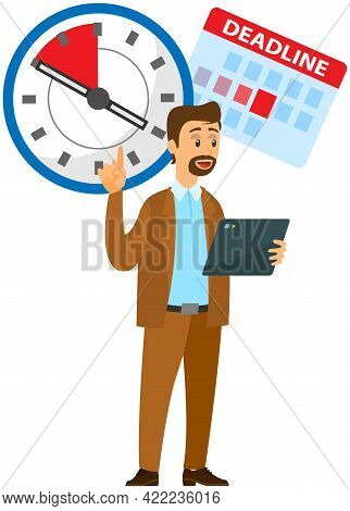 Serious Businessman Standing, Pointing At Clock And Showing That Employee Is Late. Manager Explains