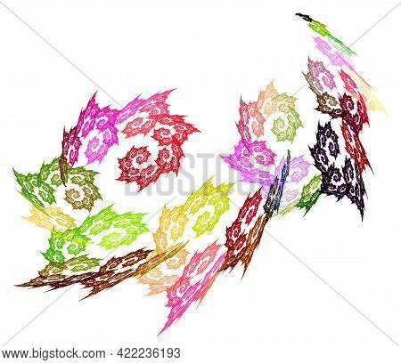 Colorful Spirals Are Dynamically Arranged On A White Background. The Spirals Follow Each Other. Grap