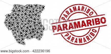 Paramaribo Distress Seal Stamp, And Suriname Map Mosaic Of Aviation Elements. Mosaic Suriname Map De